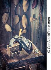 herramientas, zapatos, cuero, taller, Zapatero, viejo