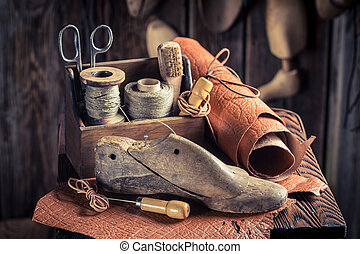 zapatos, taller, Cordones, pequeño, Zapatero, herramientas