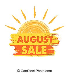 august sale with sun sign, vector - august sale summer...