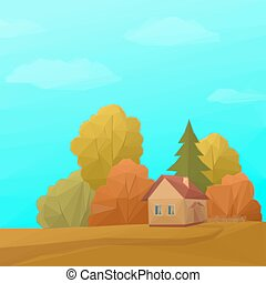 Landscape, House in Autumn Forest, Low Poly