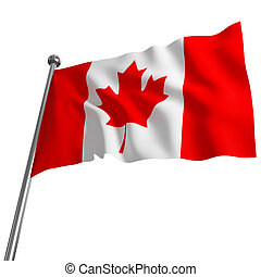 flag of canada - 3d flag of canada on white background