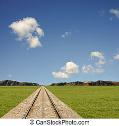 Railtrack Landscape - A Landscape with Railway Line and...