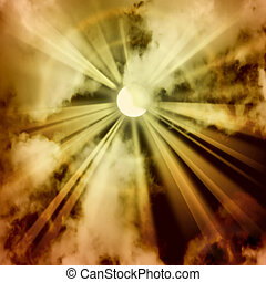 Sun Ray Background - A Sky Background with Sun Rays and...