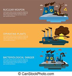 Environmental Pollution Colored Banner Set - Three...