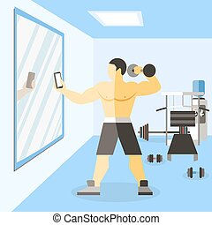 Bodybuilder narciss poster man on training in gym doing...