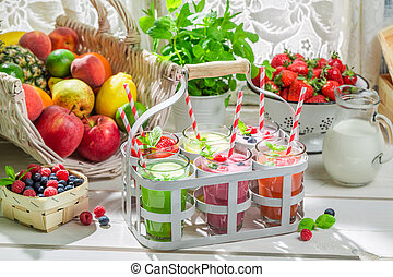 Summer smoothie with fruits