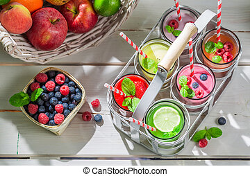Healthy cocktail with fresh fruits