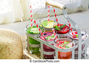 Delicious smoothie with fruits
