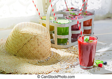Sweet cocktail with fresh fruits