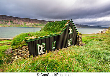 Cottage covered with grass on the roof, Iceland