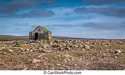 Stone cottage on the middle of nowhere, Iceland