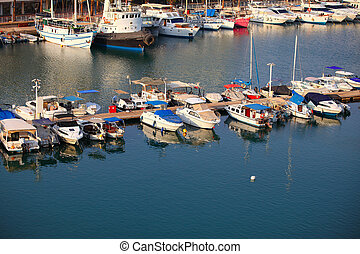 Yachts and Fshing Boats in Eilat, Israel - Marina with...