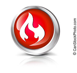button with flame symbol. - Glossy icon or button with flame...
