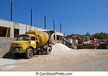 Cement mixer truck and digger
