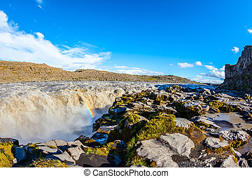 Colossal rainbow in the water foam - Colossal Dettifoss...