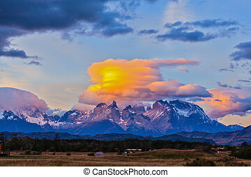Incredible sunset in the park Torres del Paine - The clouds...
