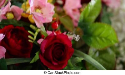 bouquet of pink roses red and other flowers