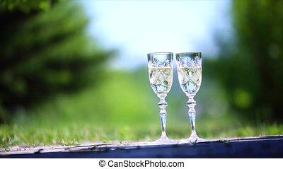Two glasses of champagne on the grass