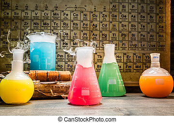 School chemical lab with periodic table of elements