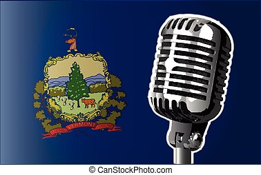 Vermont Flag And Microphone - The state of Vermont flag with...