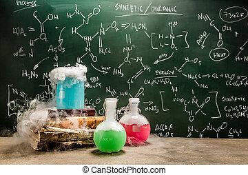 secos, gelo, usando, lição, Química, exemplo