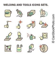 Welding work icon - Welding work and welding tools vector...