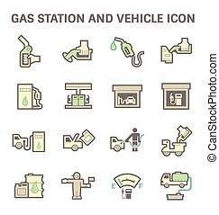 Gas station icon - Gas and oil station vector icon set