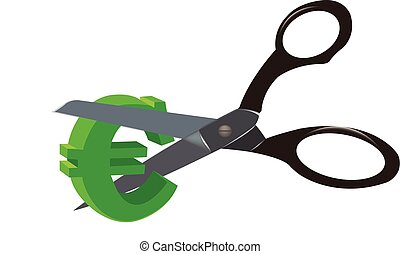 business crisis currency cut - cutting scissors currency...