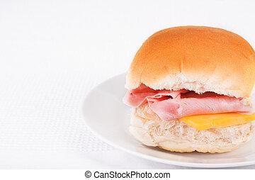 jamón, y, queso, bread, rollo, o, bap
