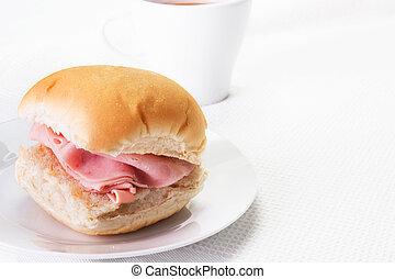 jamón, bread, rollo, o, bap, y, Un, caliente, Dri