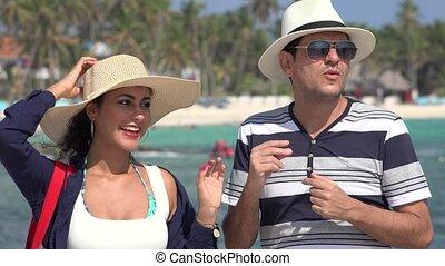 Tourist Couple Dancing And Having Fun