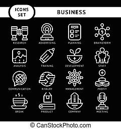 Set line icons of business isolated on black Vector...
