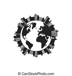 city planet silhouette urban building towers icon Vector...
