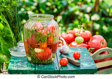 Pickling tomatoes with garlic and dill