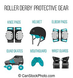 Vector set of flat roller derby protective gear - Vector set...