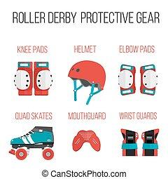 Vector set of flat roller derby protective gear - Vector set...