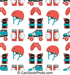 Vector seamless pattern with roller derby protective gear....