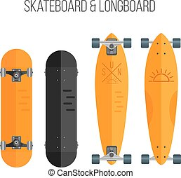 Vector Illustration of flat skateboard and longboar - Vector...