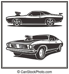 Muscle car poster set vector illustration - Muscle car...