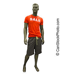 Male mannequin with sale t-shirt.