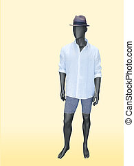 Male mannequin dressed in white shirt, shorts and hat.