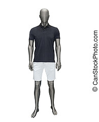 Male mannequin in summer clothes isolated on white...