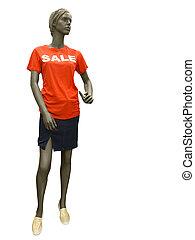 Female mannequin dressed in skirt