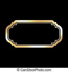 Gold frame. simple golden black