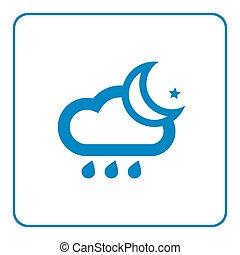 Cloud rain and moon icon