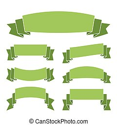 Green banners set decoration ribbons