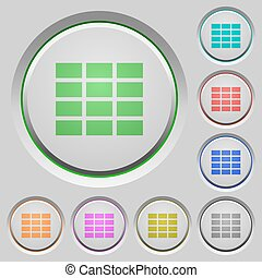 Spreadsheet push buttons - Set of color spreadsheet sunk...
