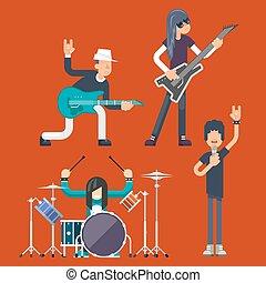 Hard Rock Heavy Folk Group Band Music Icons Guitarist Singer Bassist Drummer Concept Flat Design Vector Illustration