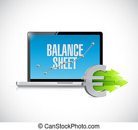euro business balance sheet on computer screen illustration...