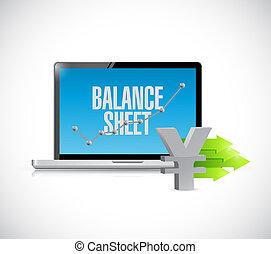 Yen business balance sheet on computer screen